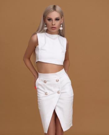 Белая джинсовая юбка с карманами «Never again» (арт 175)