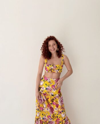 Желтый костюм с цветами Топ + Юбка Naples (Арт 401)
