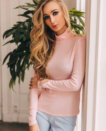 Розовый трикотажный Гольф Fashion  (Арт 327)
