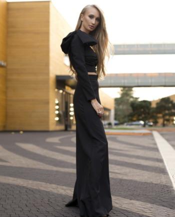 Черный Костюм с брюками палаццо Fresh  (Арт 352)
