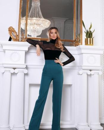 Зелёные брюки с завышенной талией World  (Арт 374)
