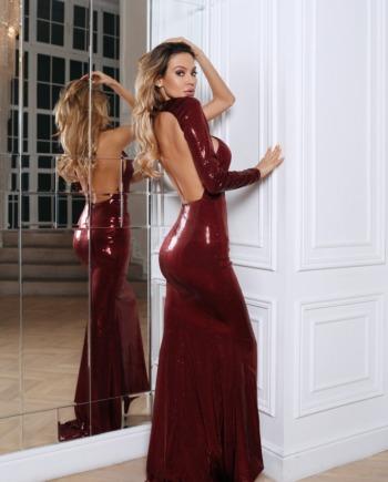 Бордовое асимметричное платье с пайетками First  (Арт 370)