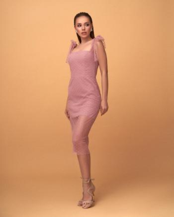 Розовое платье на завязках Galaxy  (Арт 388)
