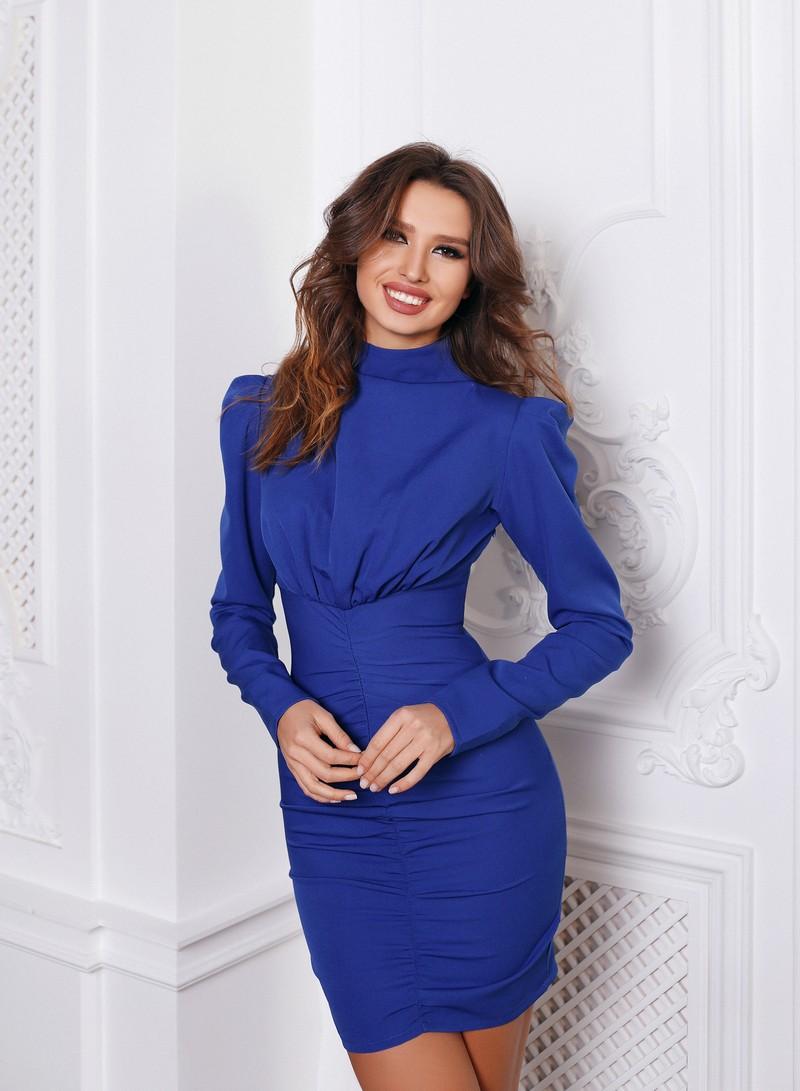 Синее Платье мини с рукавом Game (Арт 376)