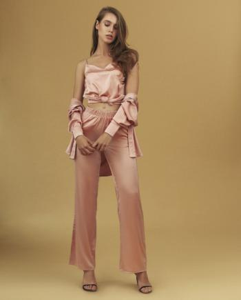 Розовый шёлковый костюм тройка Bari  (Арт 407)