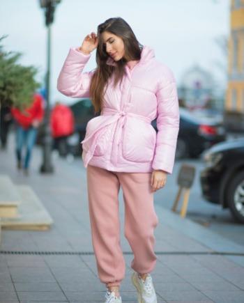 Розовая короткая зимняя Куртка «Join Life»  (Арт421)