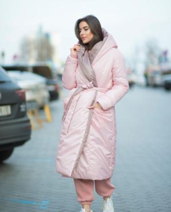 Куртка двухсторонняя розово-шоколадная «Care for fiber» (Арт424)
