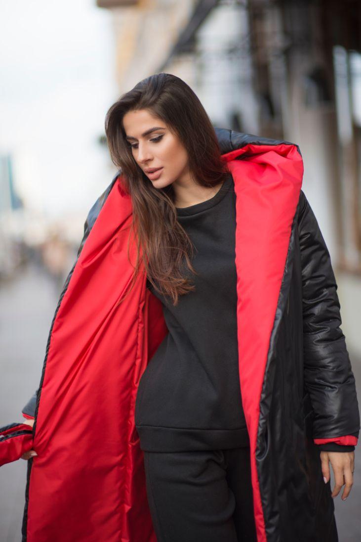Куртка двухсторонняя черно-красная «Care for fiber» (Арт424)