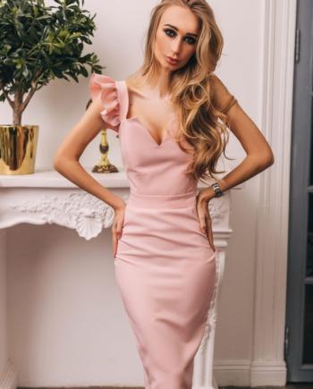Розовое Платье миди с рюшами Very  (Арт 328)
