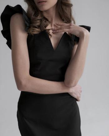 Черное Платье миди с рюшами Very  (Арт 328)