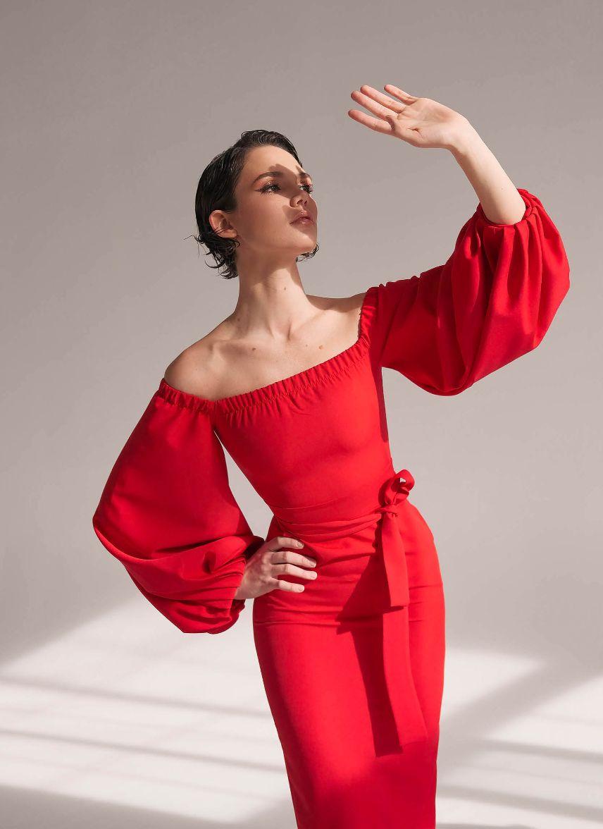 Красное платье с открытыми плечами и рукавами-фонариками Goodvibes (Арт 241)