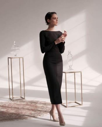 Черное классическое Платье миди с вырезом на спине Montpellier  (Ар 415)
