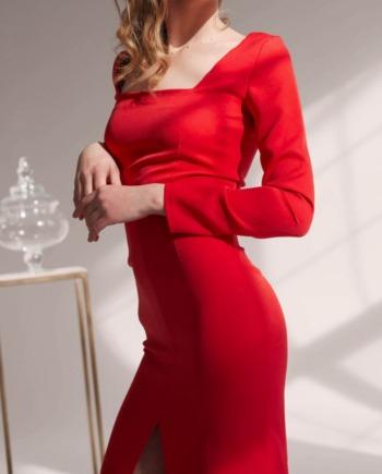 Красное классическое Платье миди с рукавом Bordeaux  (Арт 414)