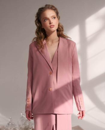 Розовый костюм юбка и пиджак с декоративным элементом Nantes (Арт 425)