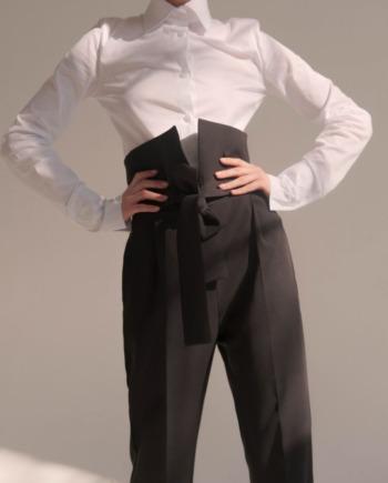 Чёрные брюки с завышенной декоративной талией Nîmes (Арт 431)