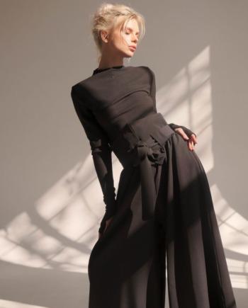Чёрный брюки палаццо с завышенной декоративной талией Tours (Арт 433)