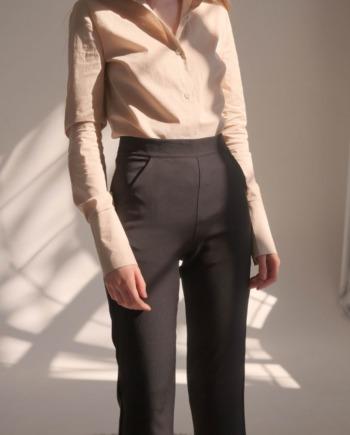Чёрные расклешенные брюки с разрезами снизу Angers  (Арт 434)