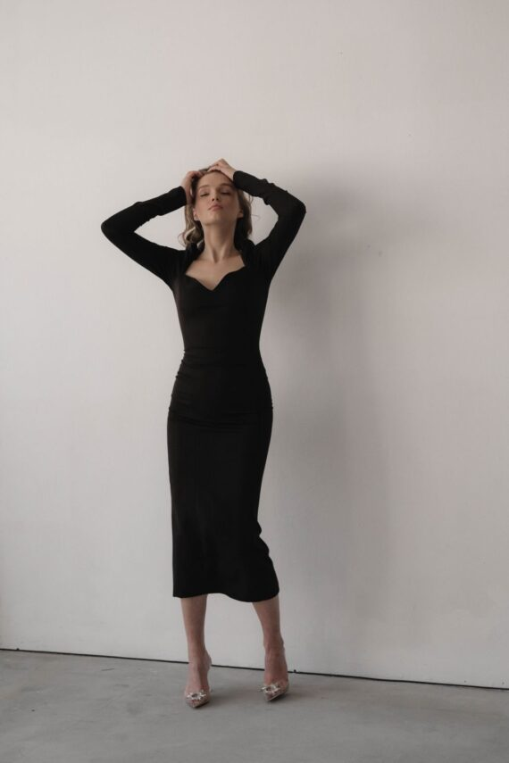 Чёрное облегающее платье миди boyfriend  (Арт 385)