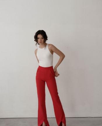 Красные расклешенные брюки с разрезами снизу Angers  (Арт 434)