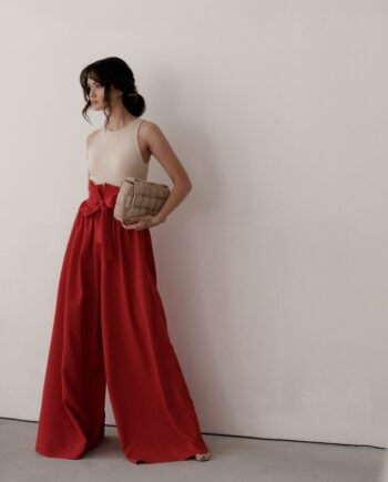 Красные брюки палаццо с завышенной декоративной талией Tours (Арт 433)