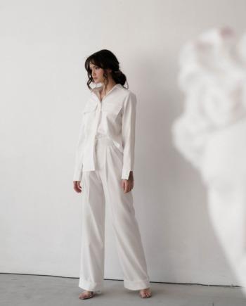 Молочный костюм-двойка прямого кроя с рубашкой Toulouse (Арт 422)