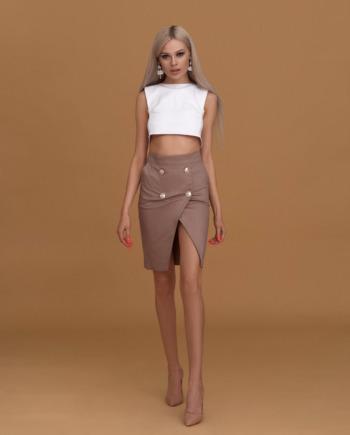 Бежевая джинсовая юбка с карманами «Never again» (арт 175)