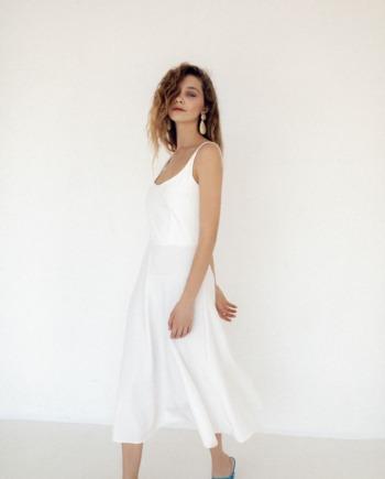 Молочное платье миди на бретелях Nancy (Арт 445)