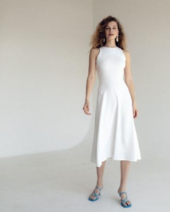 Молочное удлиненное платье Montreuil (Арт 444)