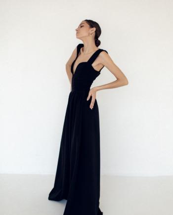 Черный комбинезон с широкими штанами Wanna it (Арт 351)