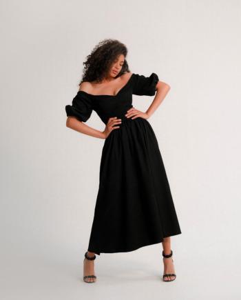 Черное Платье миди с открытыми плечами из вельвета leelegance  (Арт 247)