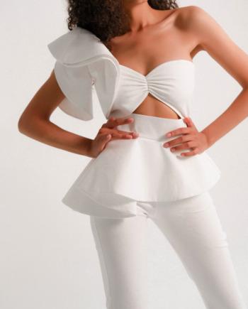 Белый Костюм брюки с декорированным топом laprospérité  (Арт265)