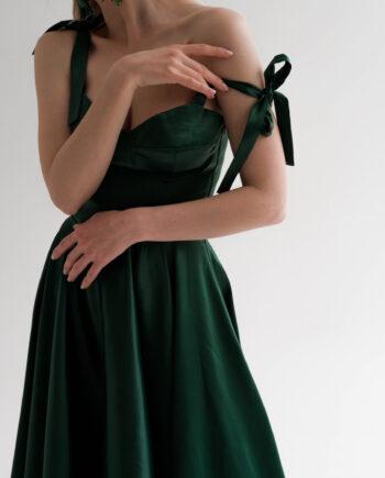 Зеленое платье Meudon на бретелях (Арт 448)