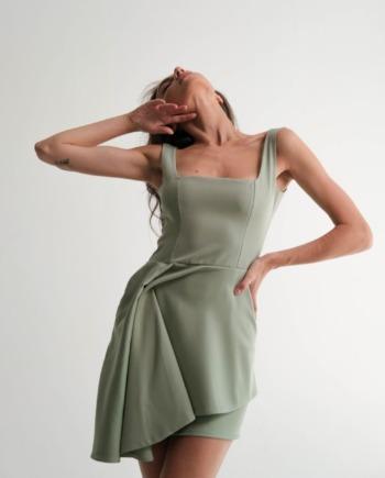 Оливковое платье мини с декоративным элементом Dreux (Арт 476)