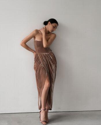 Бежевое Корсетное платье из бархата Martigues (Арт 458)