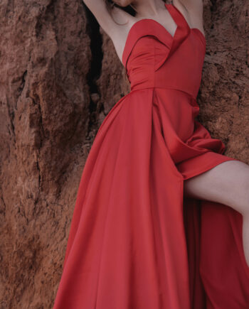 Красное платье Sète с вырезом  (Арт 451)