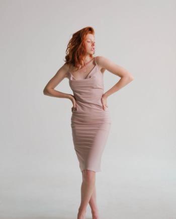 Розовое шелковое платье Cambrai (Арт 474)