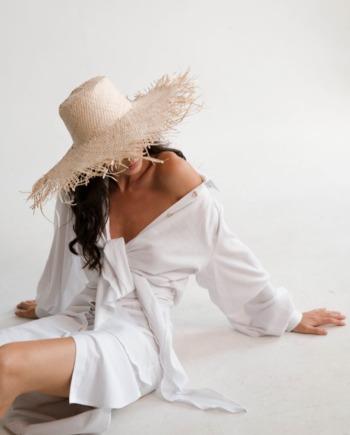 Белое льняное длинное платье Lens (Арт 479)