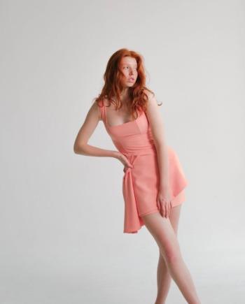 Персиковое платье мини с декоративным элементом Dreux (Арт 476)