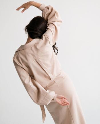 Бежевое льняное длинное платье Lens (Арт 479)