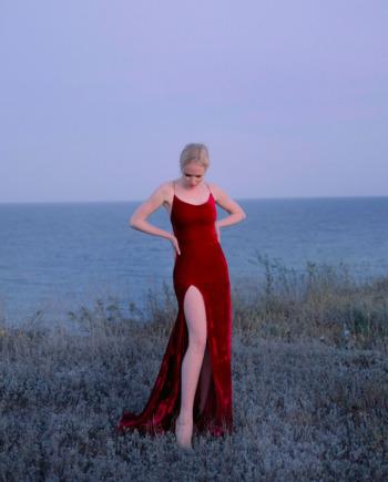 Красное платье с высоким вырезом Albi  (Арт 452)