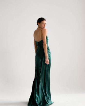Шелковое изумрудное силуэтное Платье в пол Istres (Арт 447 )