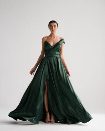 Изумрудное платье Sète с вырезом  (Арт 451)