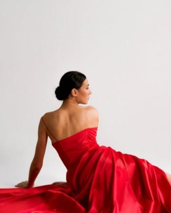 Красное Корсетное платье из королевского атласа Puteaux (Арт 454)