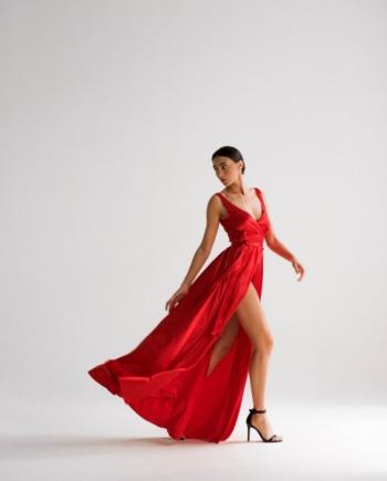 Красное шелковое Платье в пол justamoment (Арт 188)