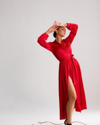 Красное шелковое Платье миди на запах Galeries  (Арт 330)