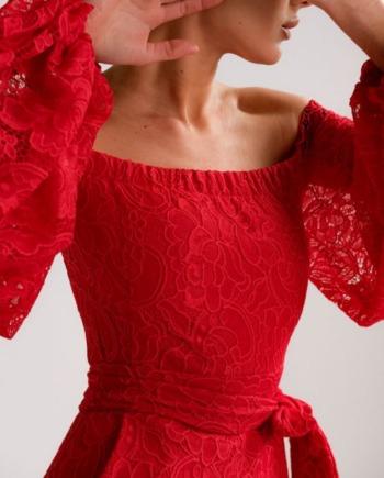 Красное облегающее платье с открытыми плечами Diamonds (Арт 284)