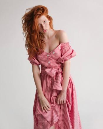 Красное хлопковое платье-рубашка Сonfiserie (Арт 336)