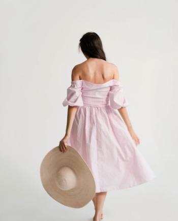 Розовое хлопковое платье-рубашка Сonfiserie (Арт 336)