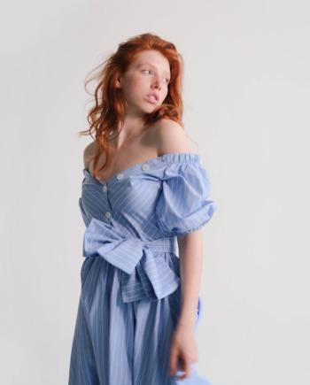 Голубое хлопковое платье-рубашка Сonfiserie (Арт 336)