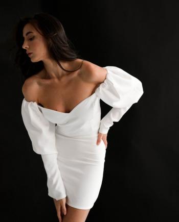 Молочное облегающее платье мини Little (Арт 382)